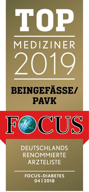 Prädikatssiegel: zahlreiche Auszeichnungen Focus Top Mediziner Beingefässe/pAVK